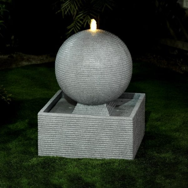 Axel Water Feature w/ 1 LED - Light Grey - 60x60x76.5cm