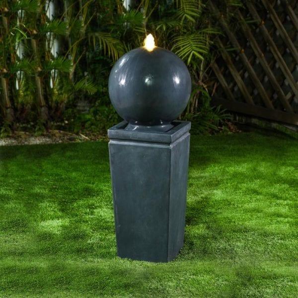 Salem Water Feature w/ 1 LED - Dark Grey - 34 x 34 x 87cm