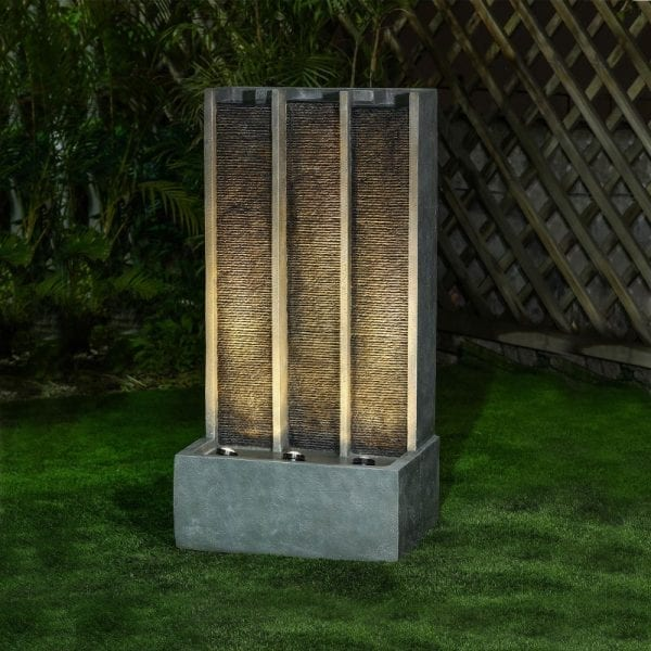 Galen Water Feature w/ 3 LEDs - Light Grey - 60x39.5x114.5cm