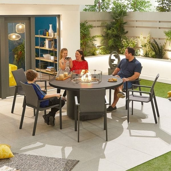 Roma 6 Seat Round Dining Set with Firepit - Grey