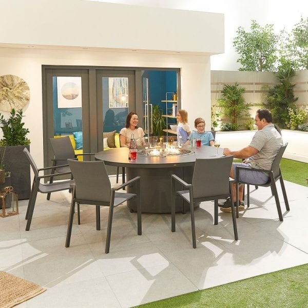 Roma 8 Seat Round Dining Set with Firepit - Grey
