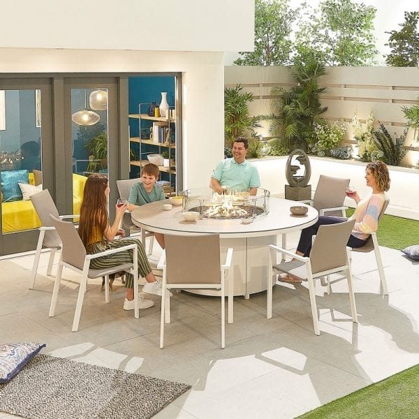 Roma 8 Seat Round Dining Set with Firepit - White