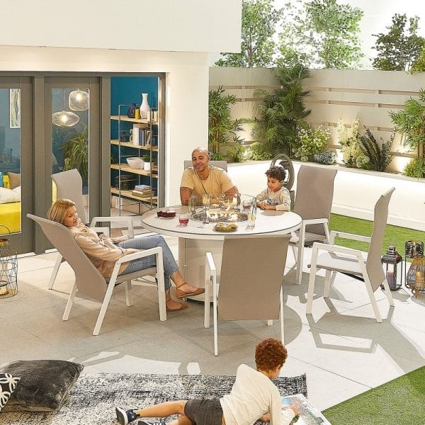 Venice 6 Seat Round Dining Set with Firepit - White