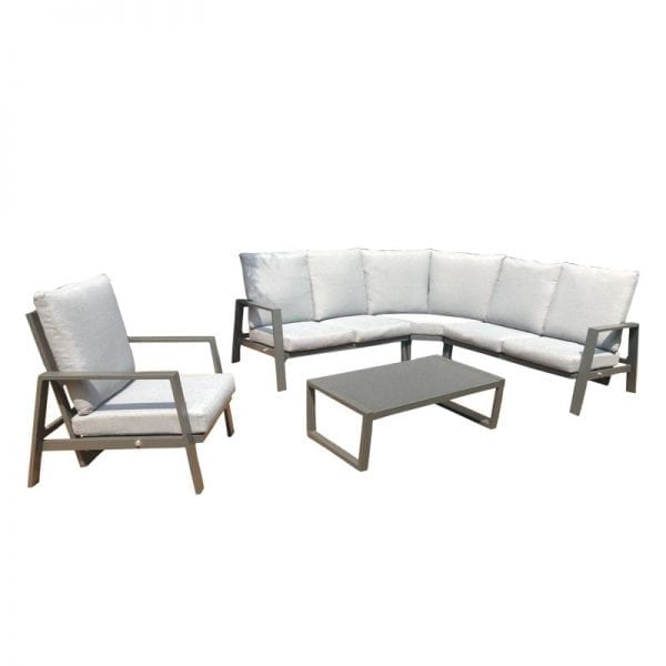 Enna Reclining Corner Sofa Set with Lounge Chair - Grey
