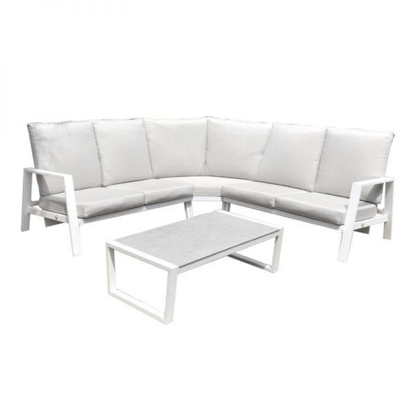 Enna Reclining Corner Sofa Set - White