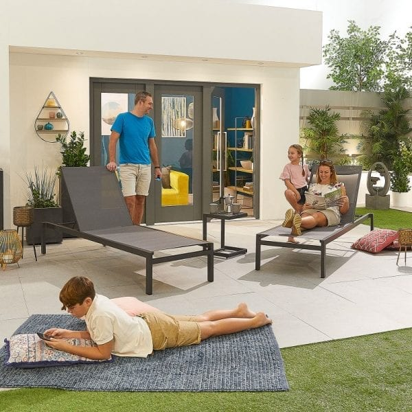 Milano Sun Lounger Set with Side Table - Grey