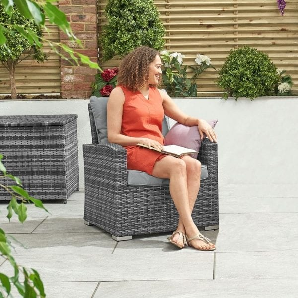 Cambridge Rattan Lounge Armchair - Grey