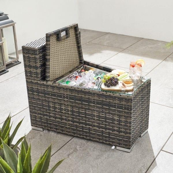 Kensington Side Table & Ice Bucket Extension - Brown