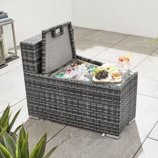 Kensington Side Table & Ice Bucket Extension - Grey