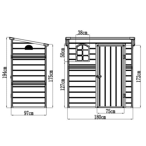 Jasmine 6'x3' Plastic Pent Shed - Dimensions