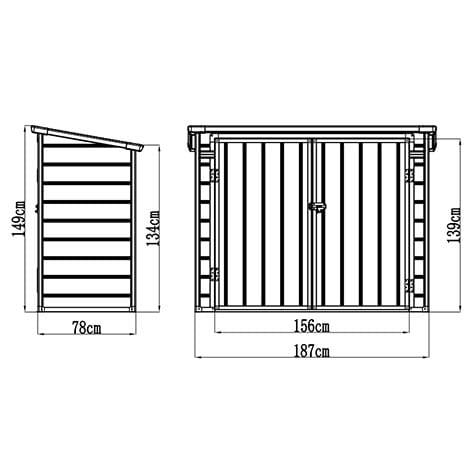 Jasmine 6'x3' Storage Unit - Dimensions