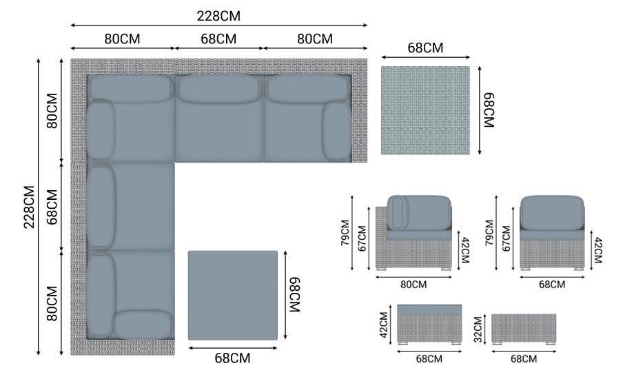 N17361 - Heritage Chelsea Corner Sofa Dimensions