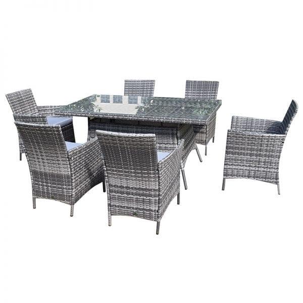 Six Seater Rectangular Rattan Dining Set - Product Image