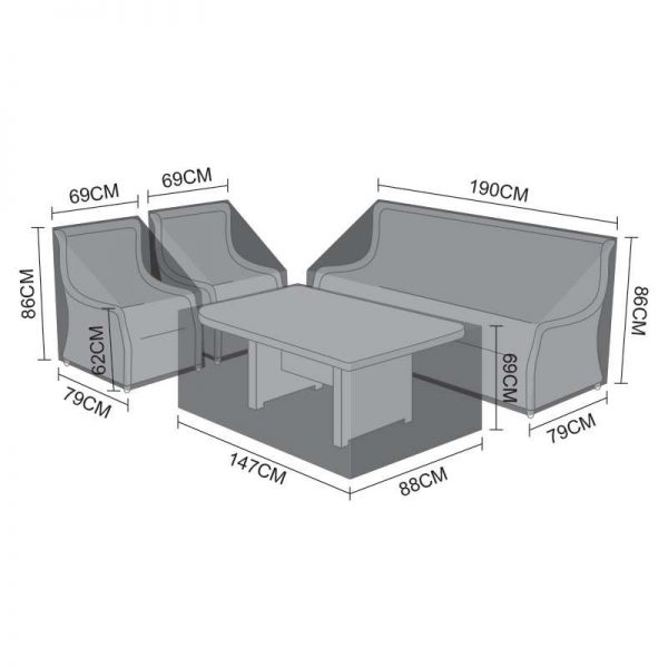 Sofa Dining Set Cover - Oyster 3 Seater