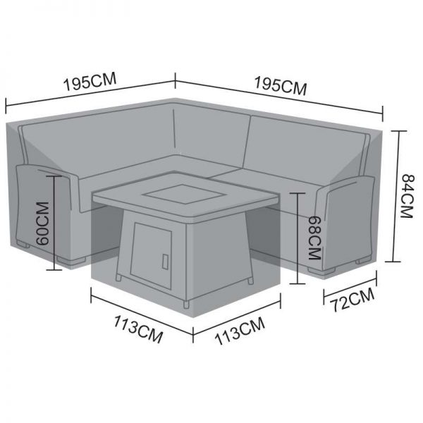 Corner Dining Set Cover - Cambridge Compact with Fire Pit