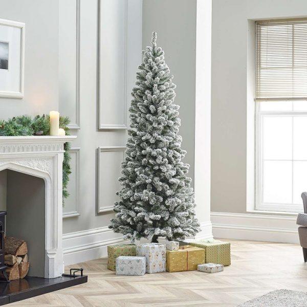7ft Balsam Fir Snowy Artificial Christmas Tree