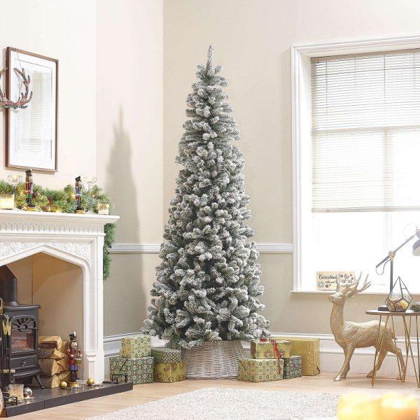 8ft Balsam Fir Snowy Artificial Christmas Tree
